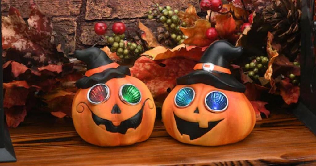 LED pumpkins in hats