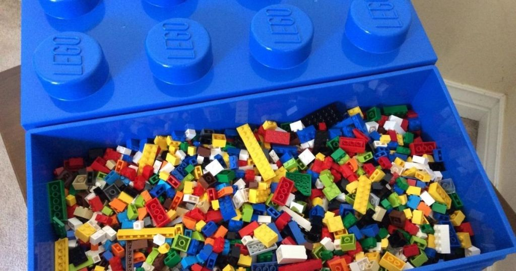blue LEGO box filled with LEGOS