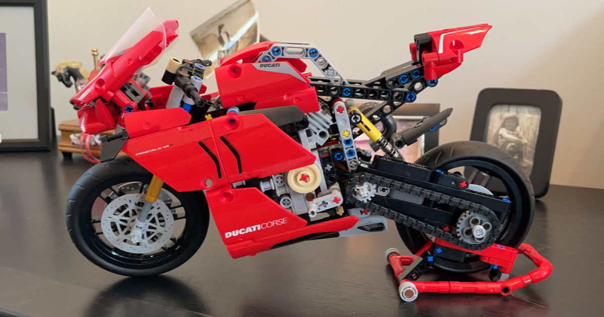 lego model built into a red motorcycle