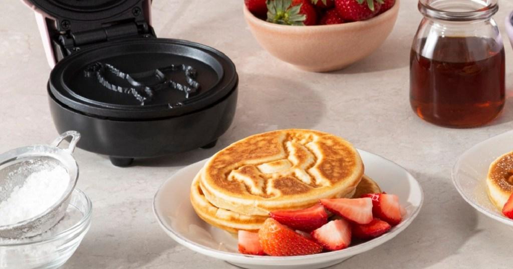 waffles on plates with LLama imprints on them
