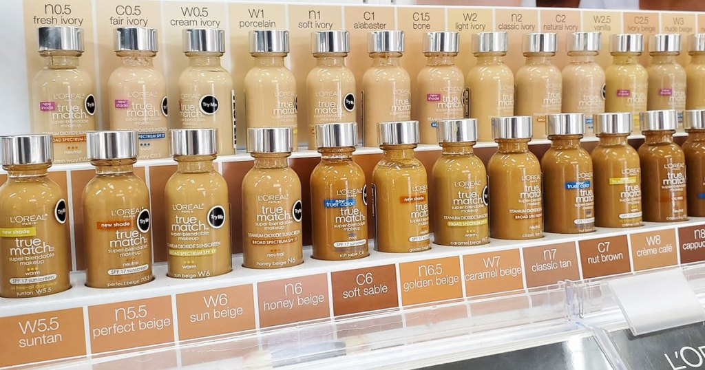 shades of loreal foundation on store display