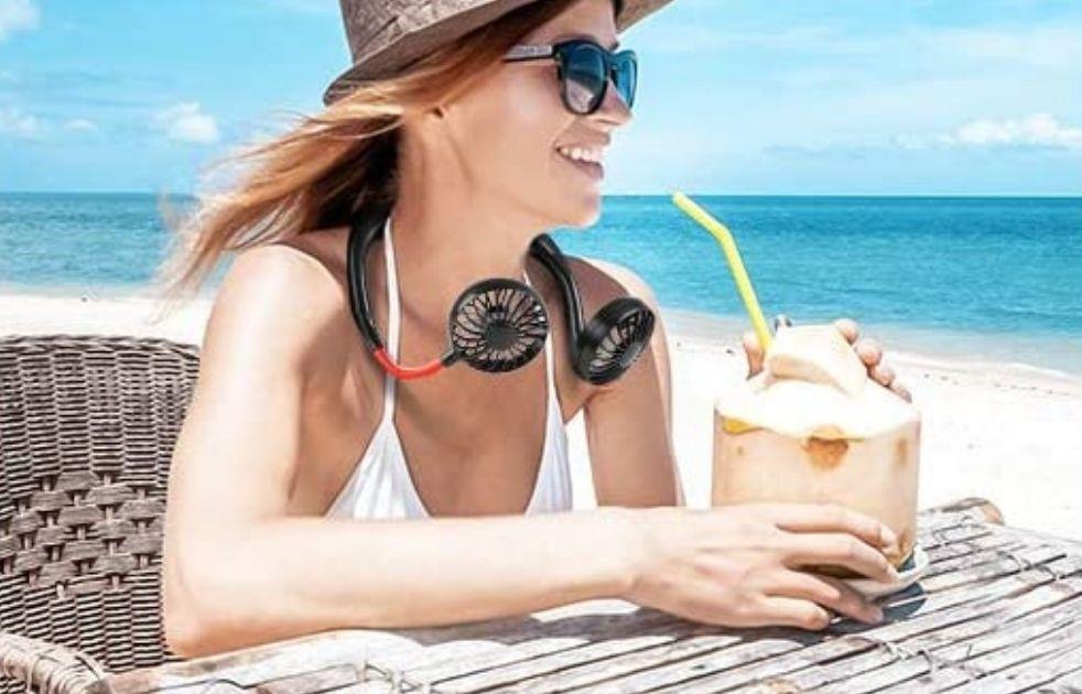 woman wearing a fan around her neck
