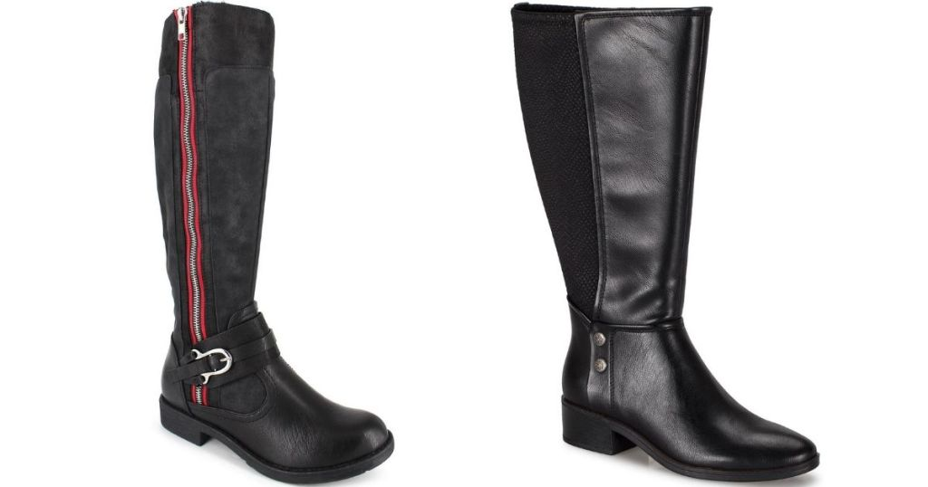 two pairs of black riding boots