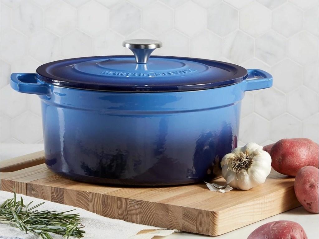 Martha Stewart dutch oven blue