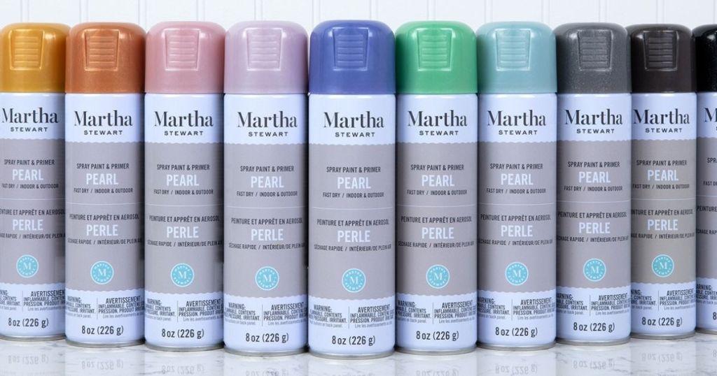 row of Martha Stewart Spray Paints