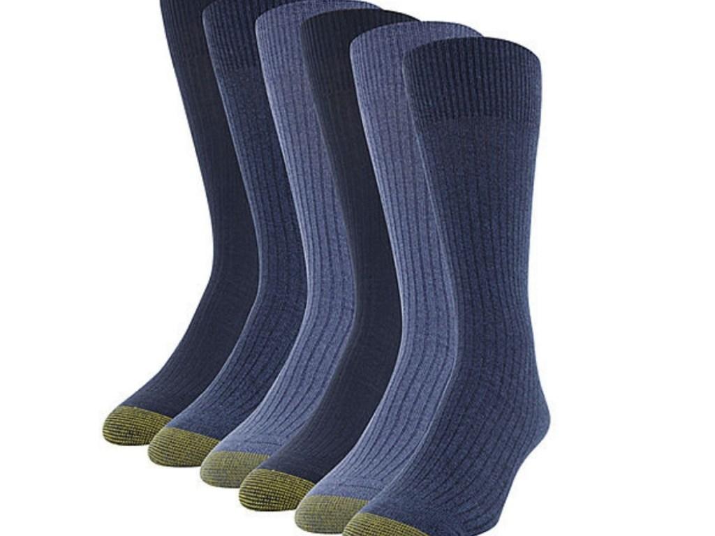 men's gold toe harrington crew socks in blue