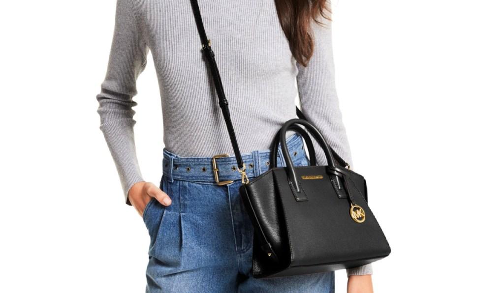 Michael Kors Avril Small Leather Top-Zip Satchel