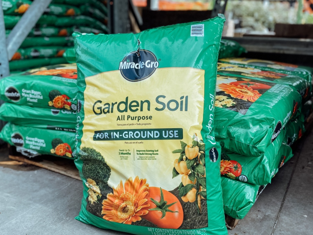 Bag of Miracle Gro Garden Soil on display at Home Depot