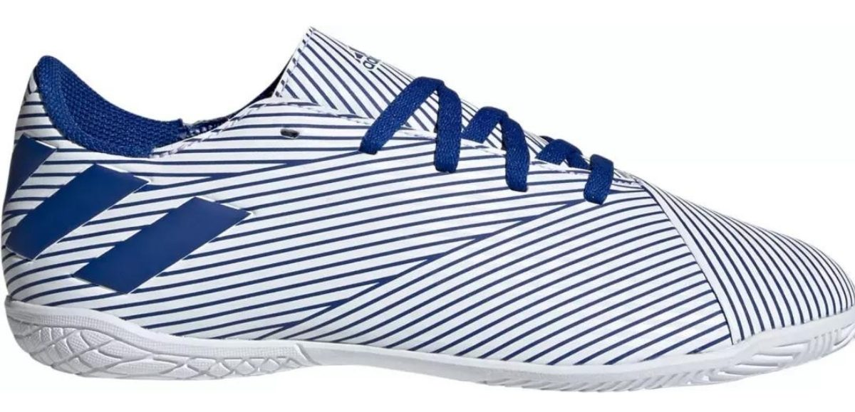 blue and white kids' indoor soccer shoes