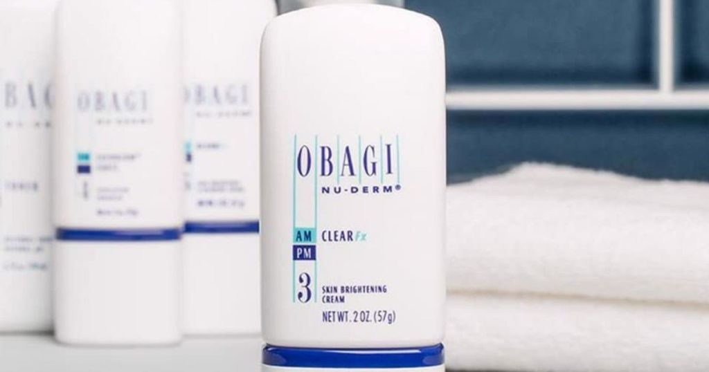 Obagi products on a bathroom counter
