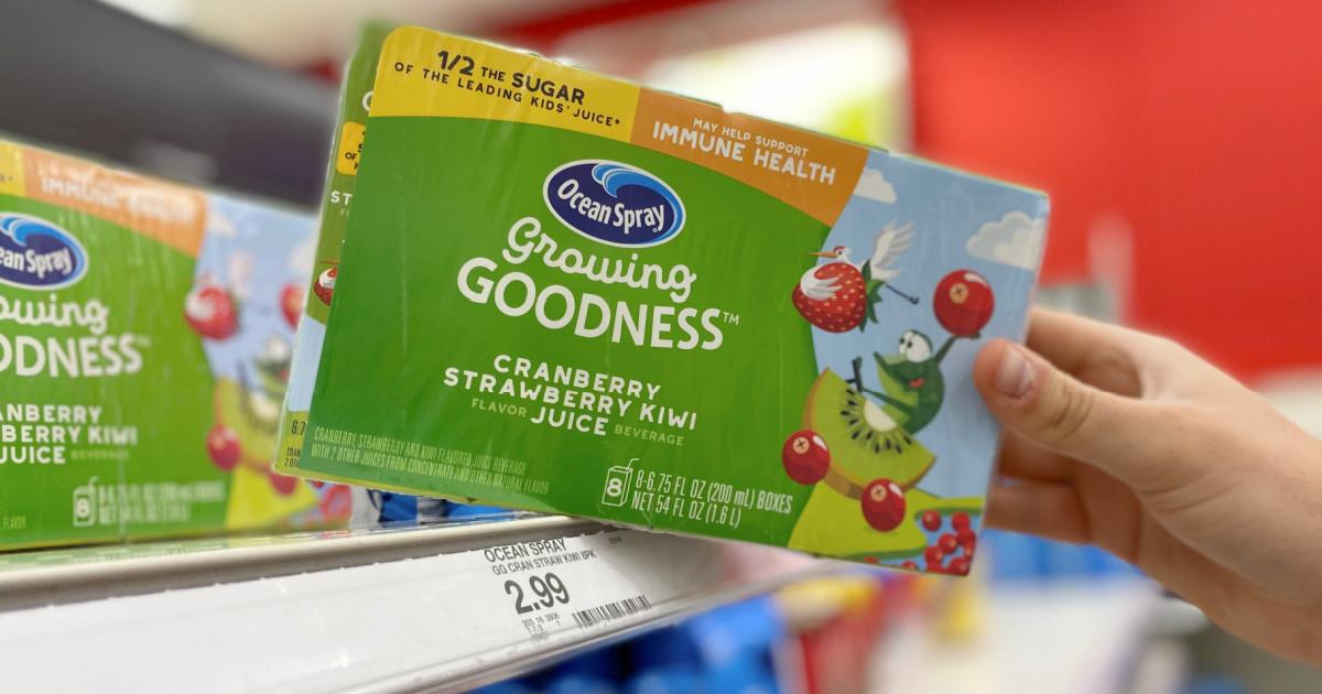 Ocean Spray juice boxes in packaging on store shelf
