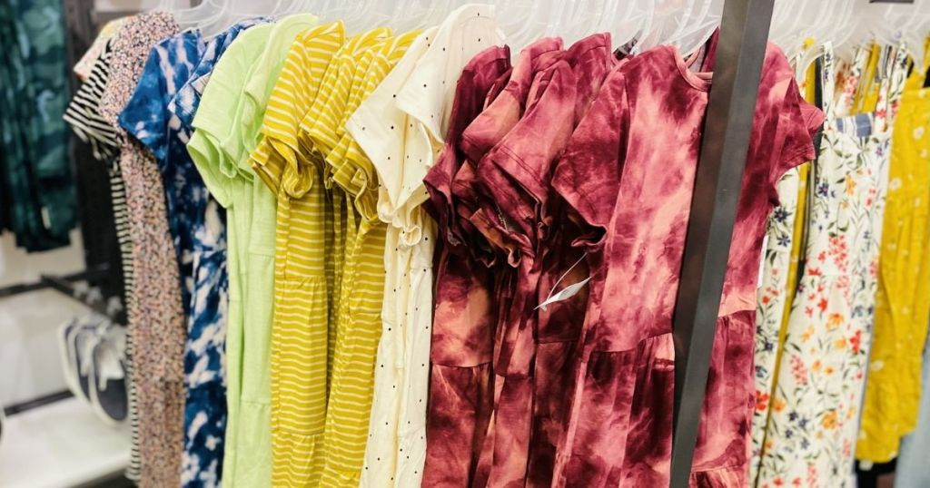 rack of dresses at Old Navy