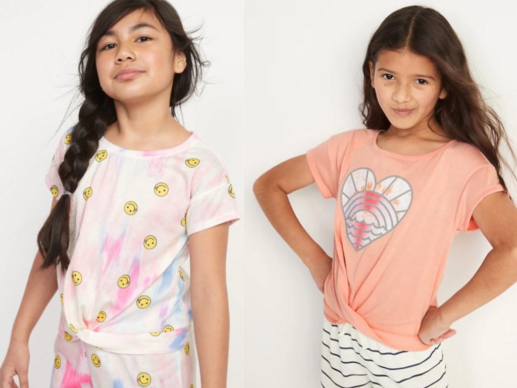 little girls wearing old navy pajama tops