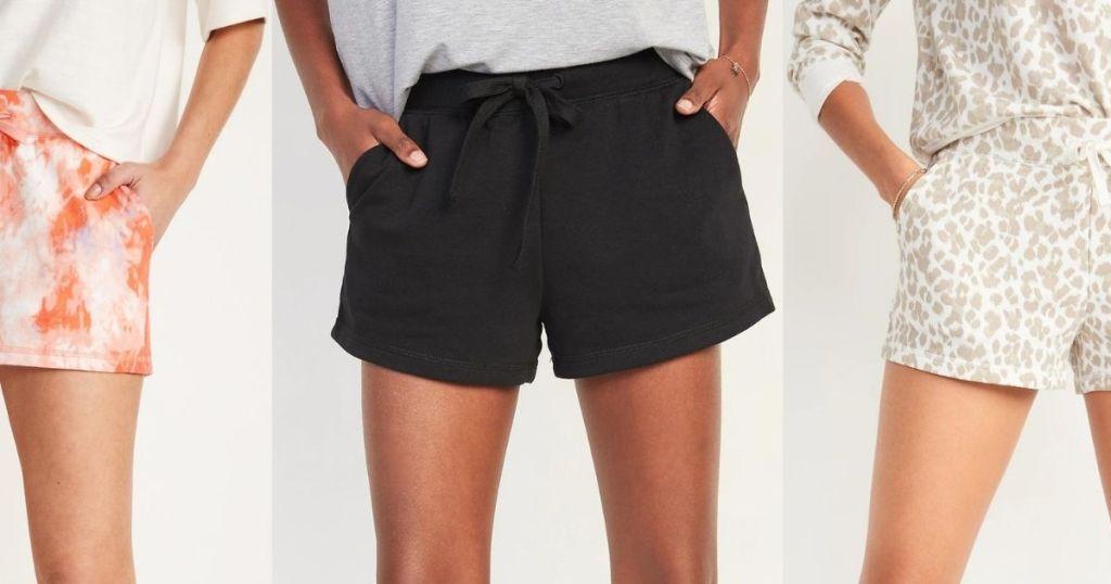 three women wearing shorts