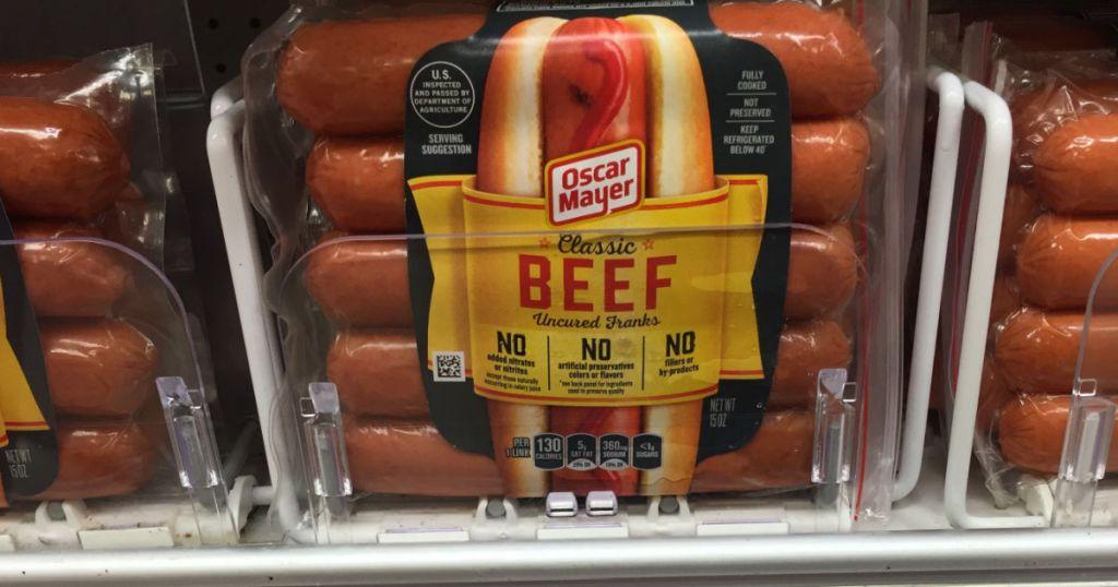 hotdogs on shelf