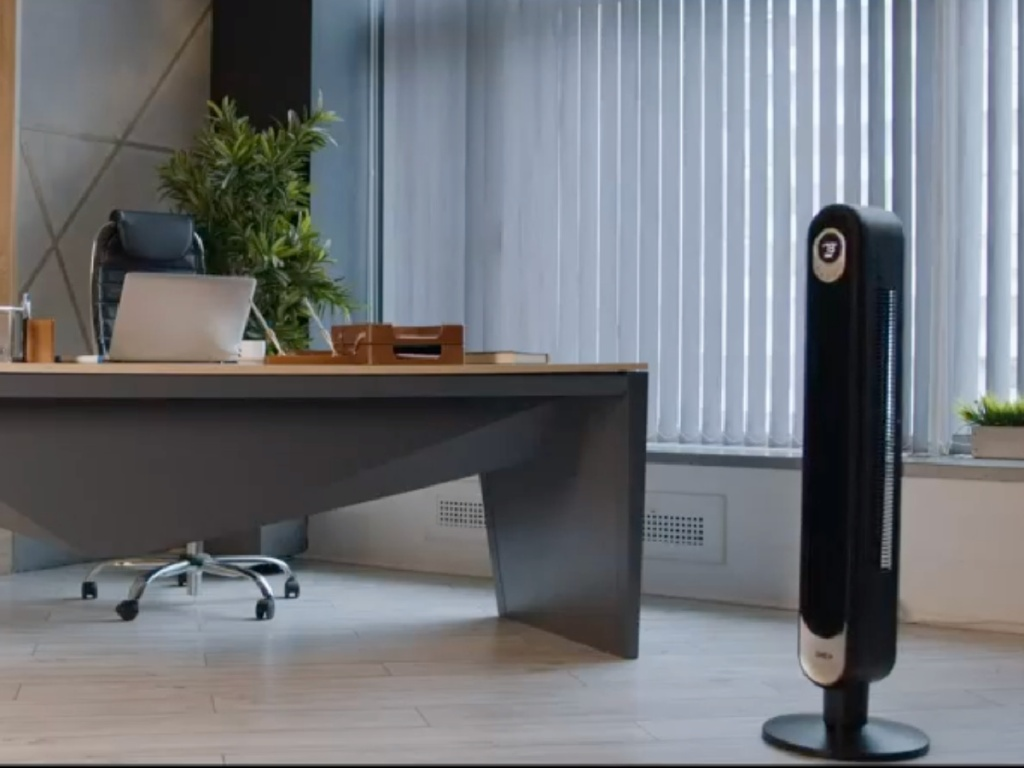 black tower fan in an office
