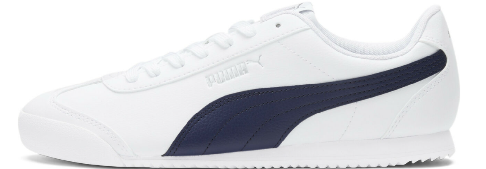 white and blue sneakers