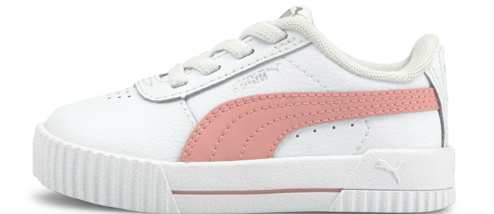 white and pink PUMA sneaker