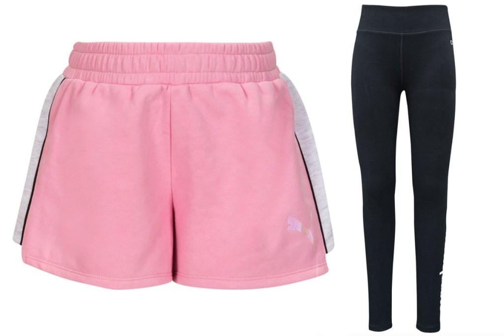 PUMA girls activewear shorts and leggings