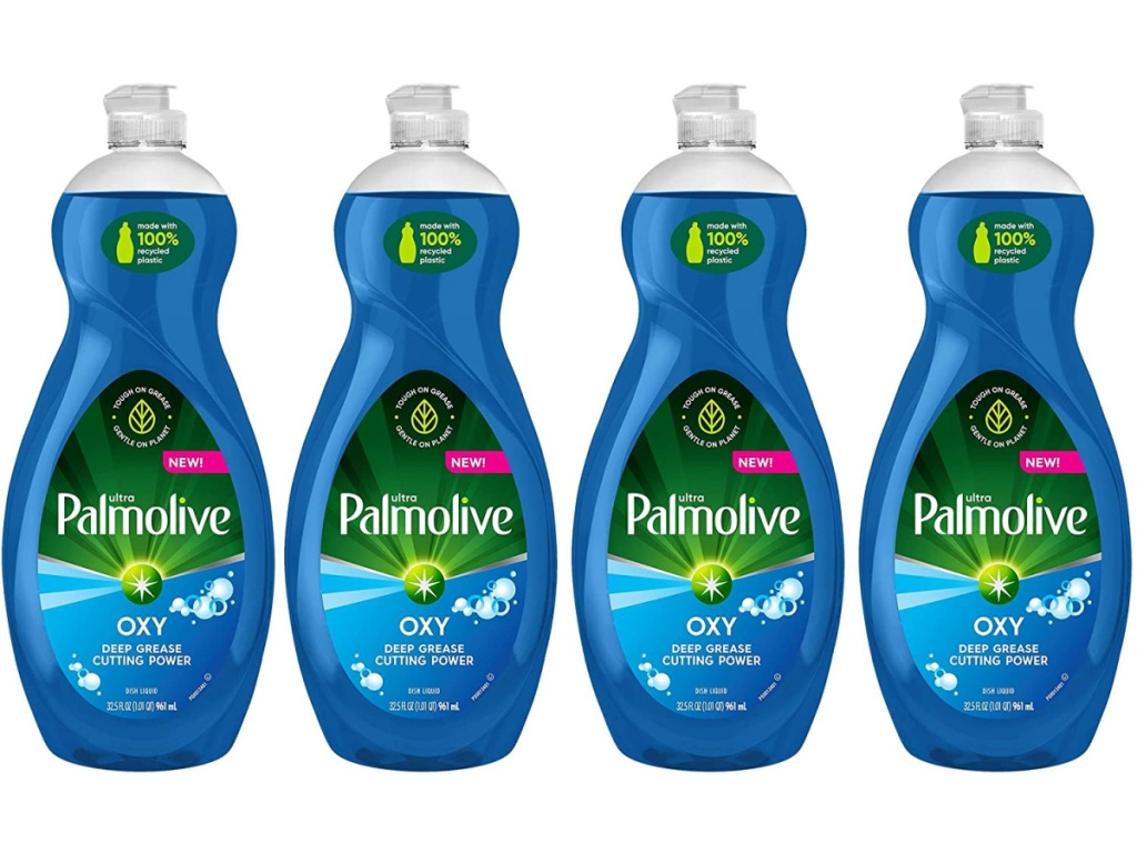 four bottles of palmolive dish soap with oxy