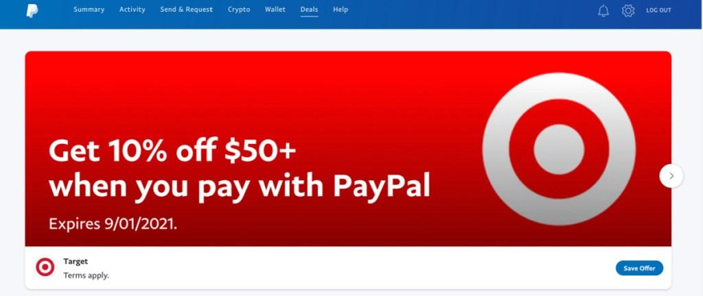 target banner on paypal website