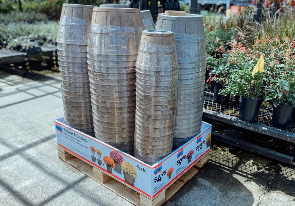 Peach Basket Resin Planter on display at Lowe's