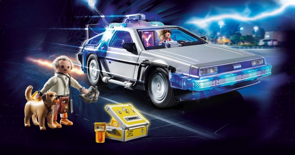 toy Delorean car and figures