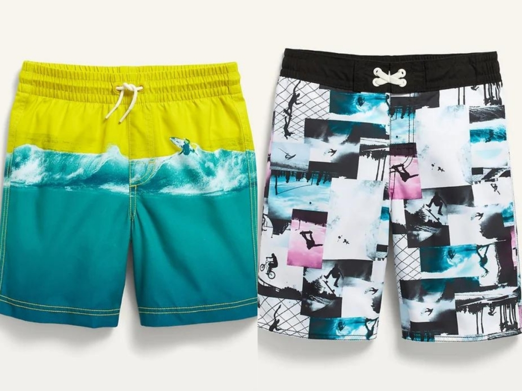 boys printed swim trunks and board shorts from old navy