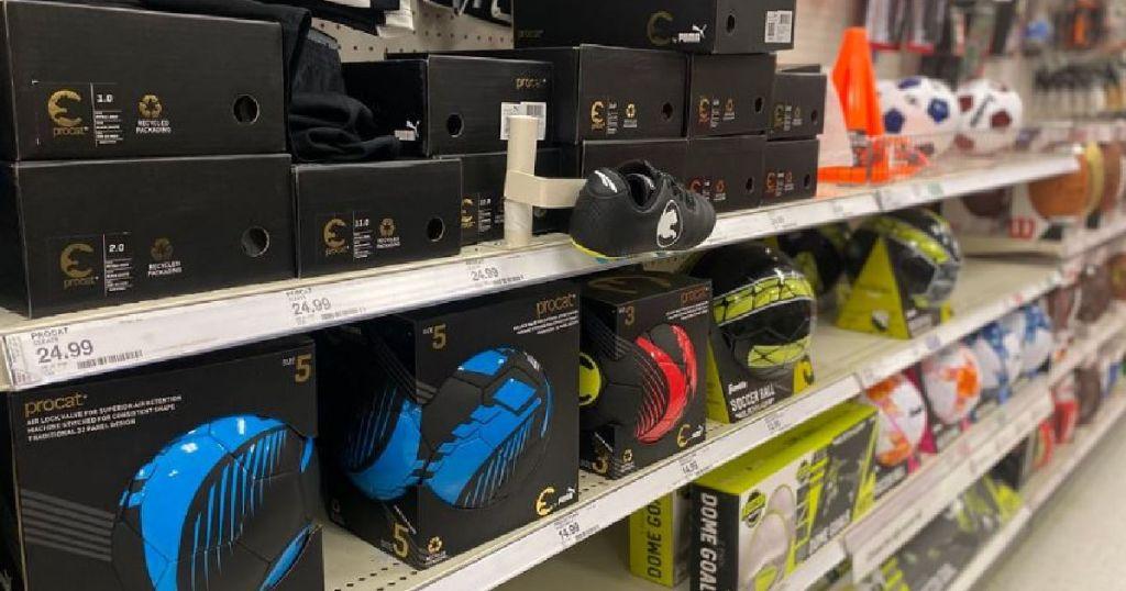 soccer gear on shelf