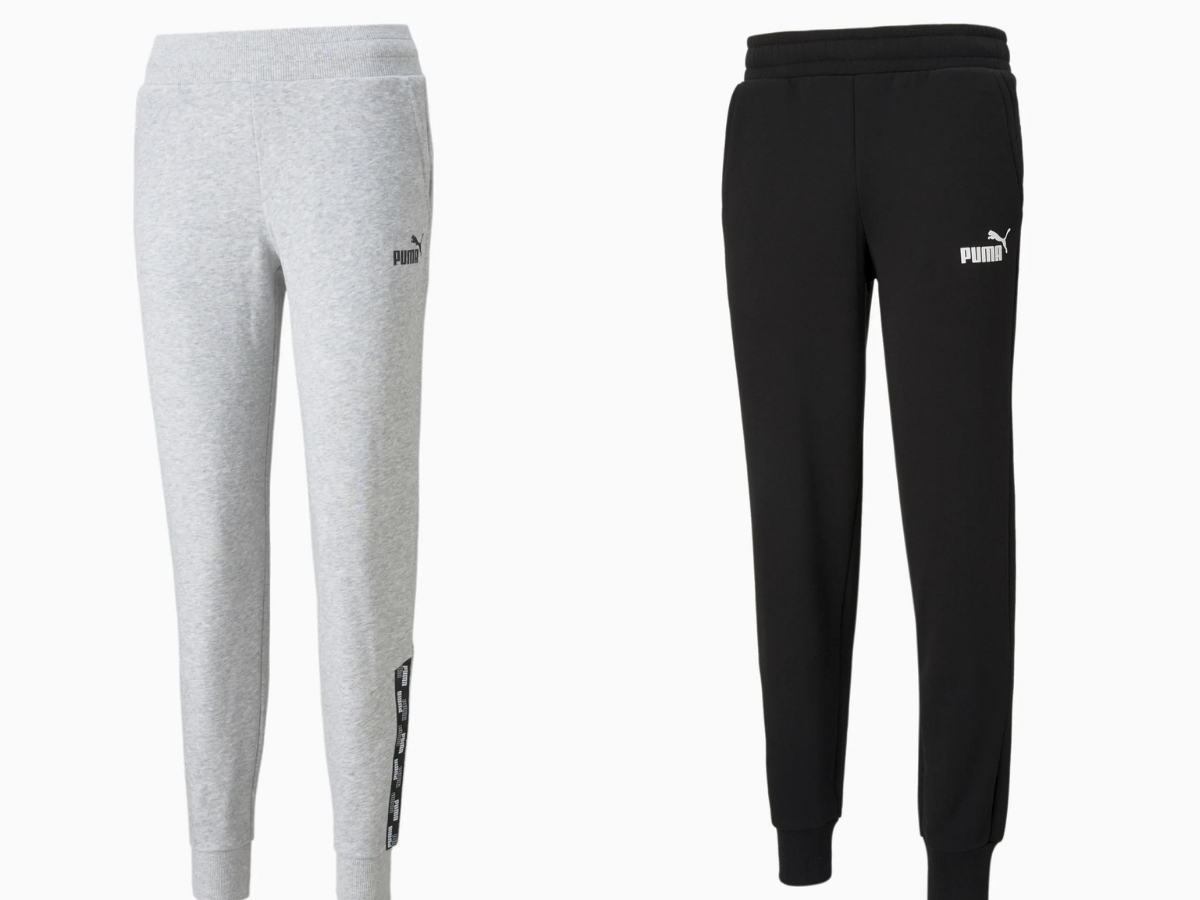 gray and black men's and women's puma pants