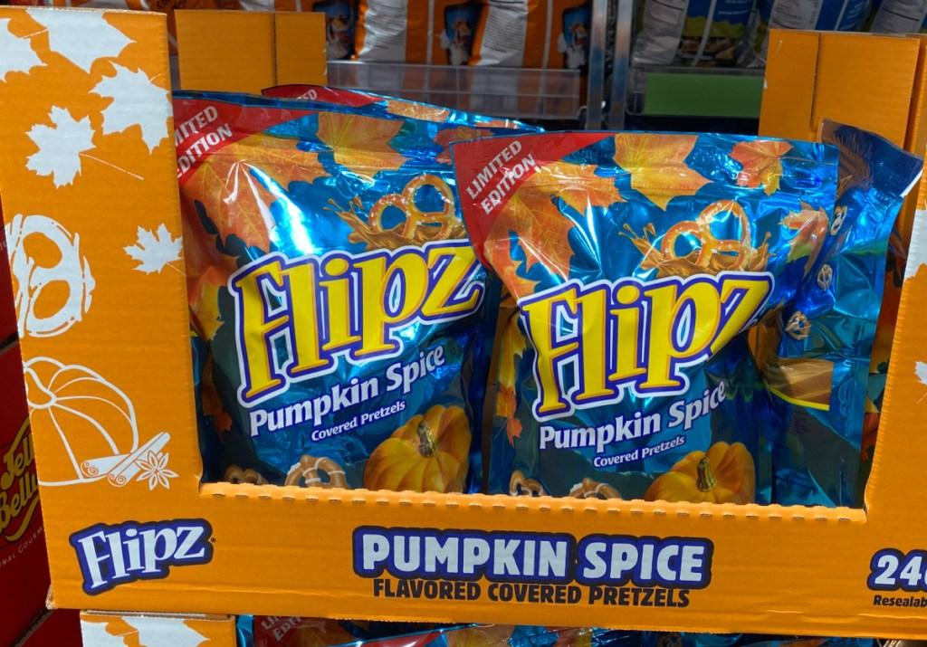 In-store display of pumpkin spice flavored pretzels