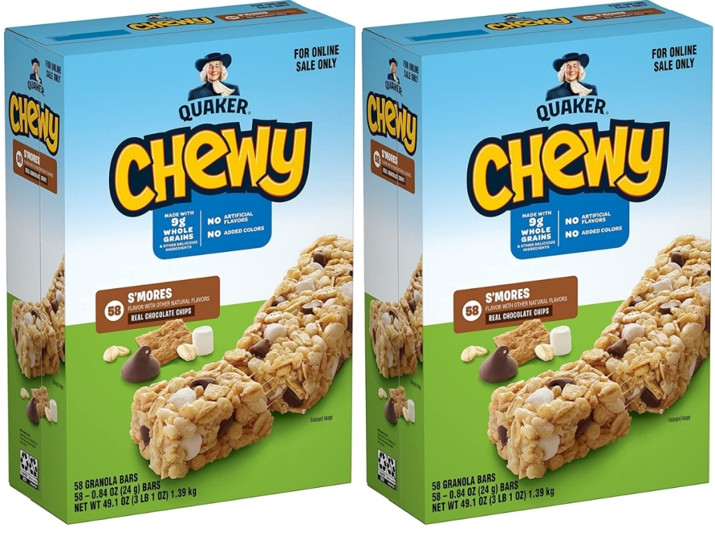 two boxes of quaker chewy granola bars s'mores flavored