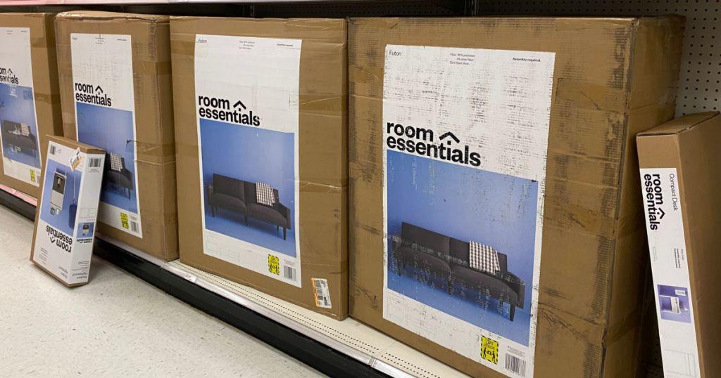 gray futon in box