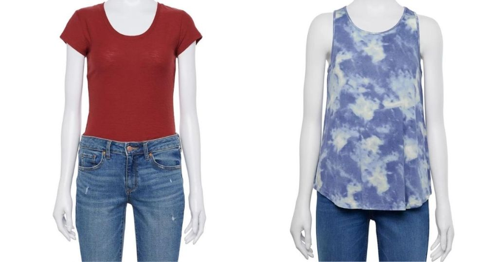 mannequins wearing a t-shirt and a tank top