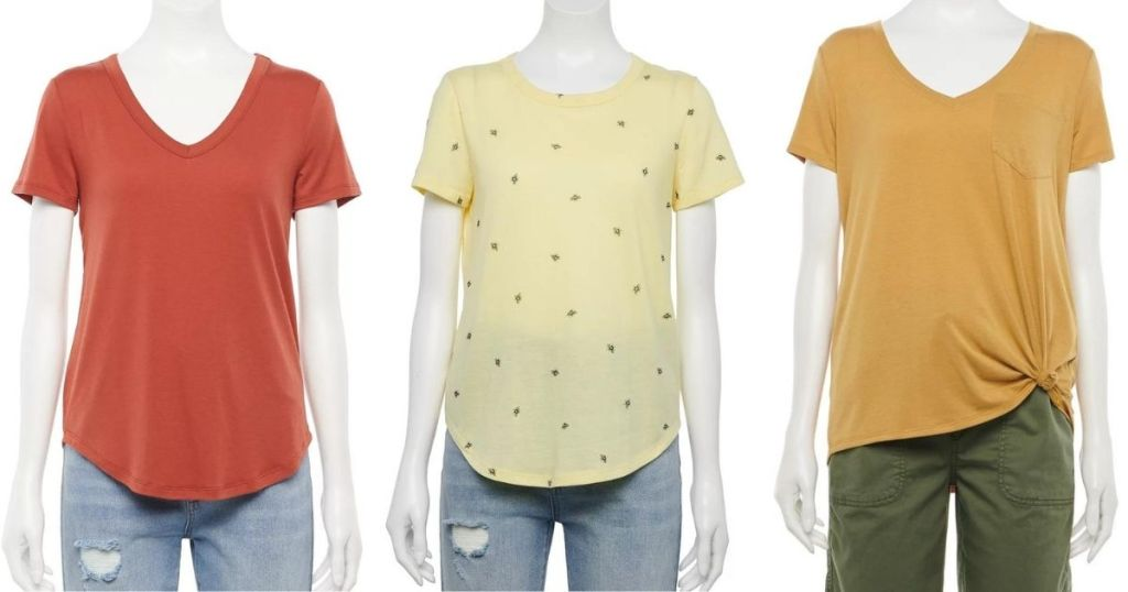 three mannequins wearing t-shirts
