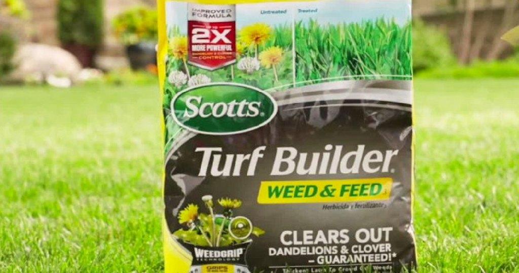 Scotts Turf Builder bag on grass