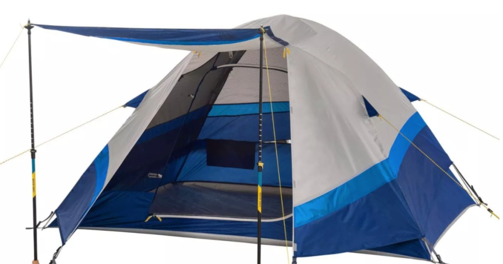 blue and tan tent