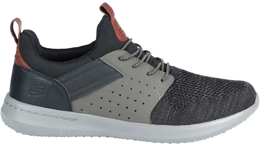 gray and brown Skechers shoe