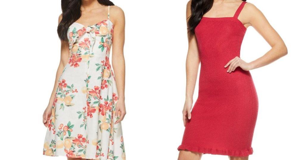 two women in dresses