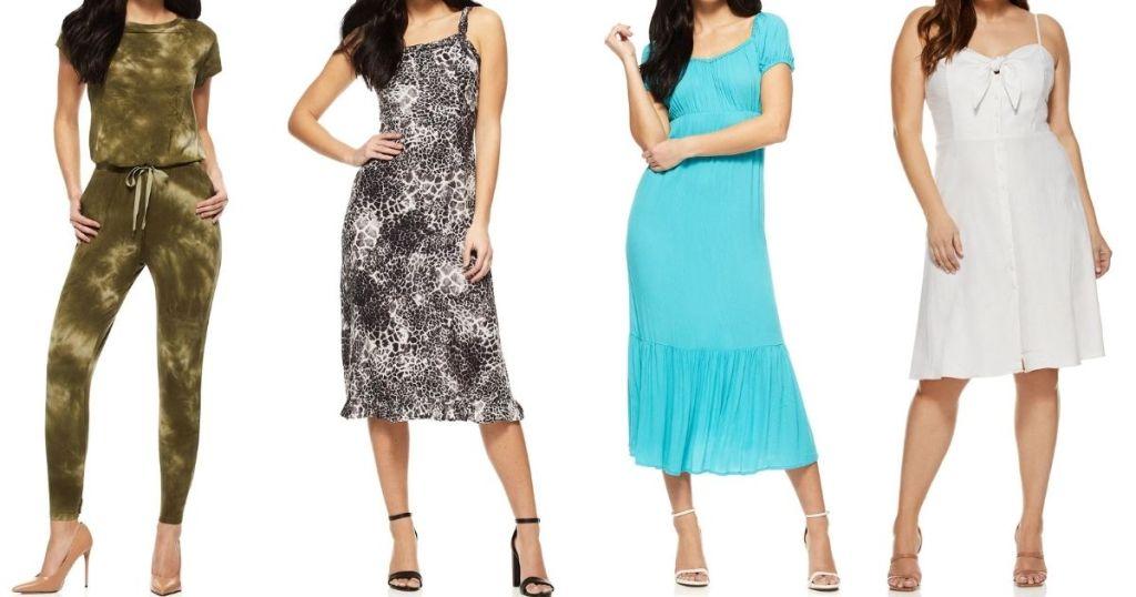 four women wearing dresses