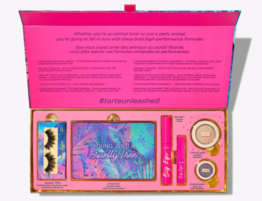 box filled with Tarte cosmetics