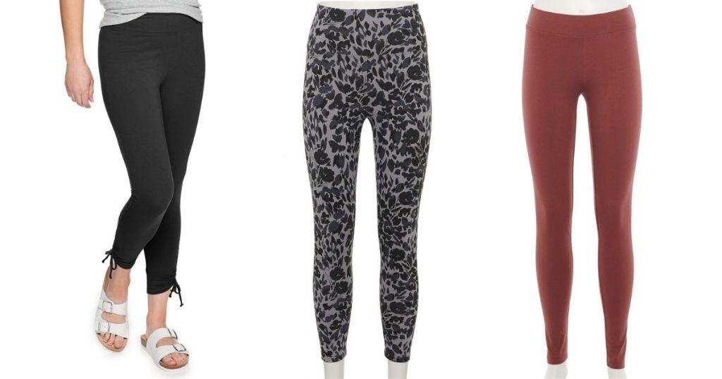 three pairs of leggings