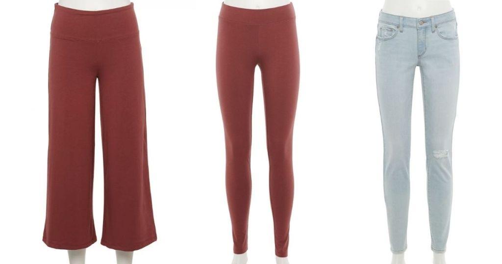 three pairs of pants