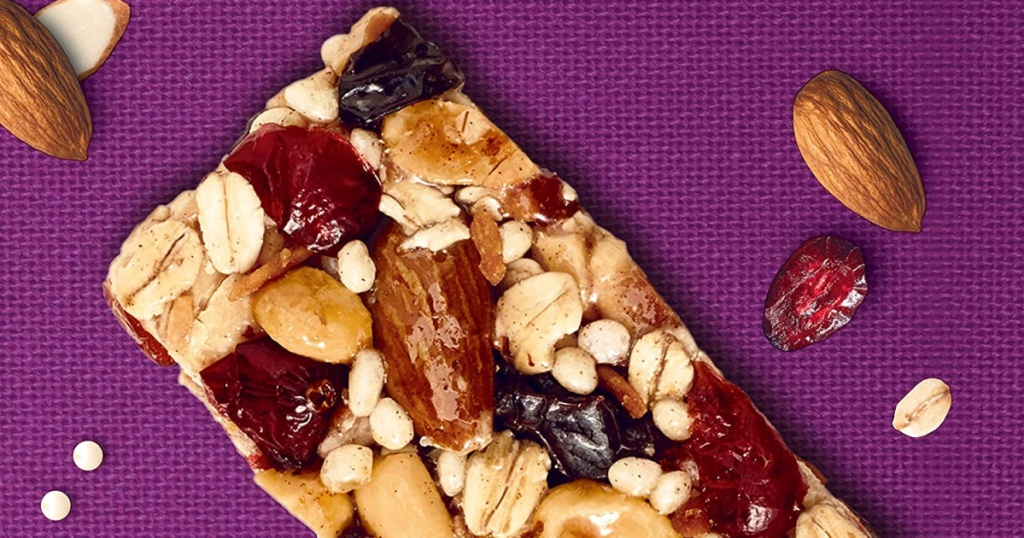 chocolate almond but bar and almonds, craisins and oats