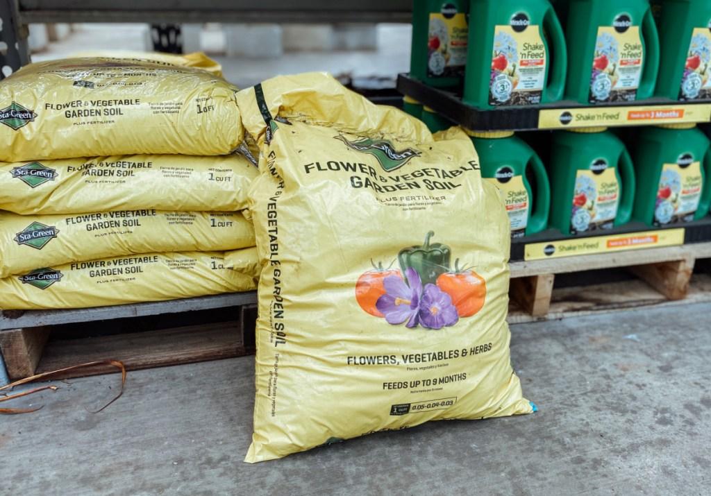 Large yellow bag of Sta-Green 1-cu ft Flower & Vegetable Garden Soil
