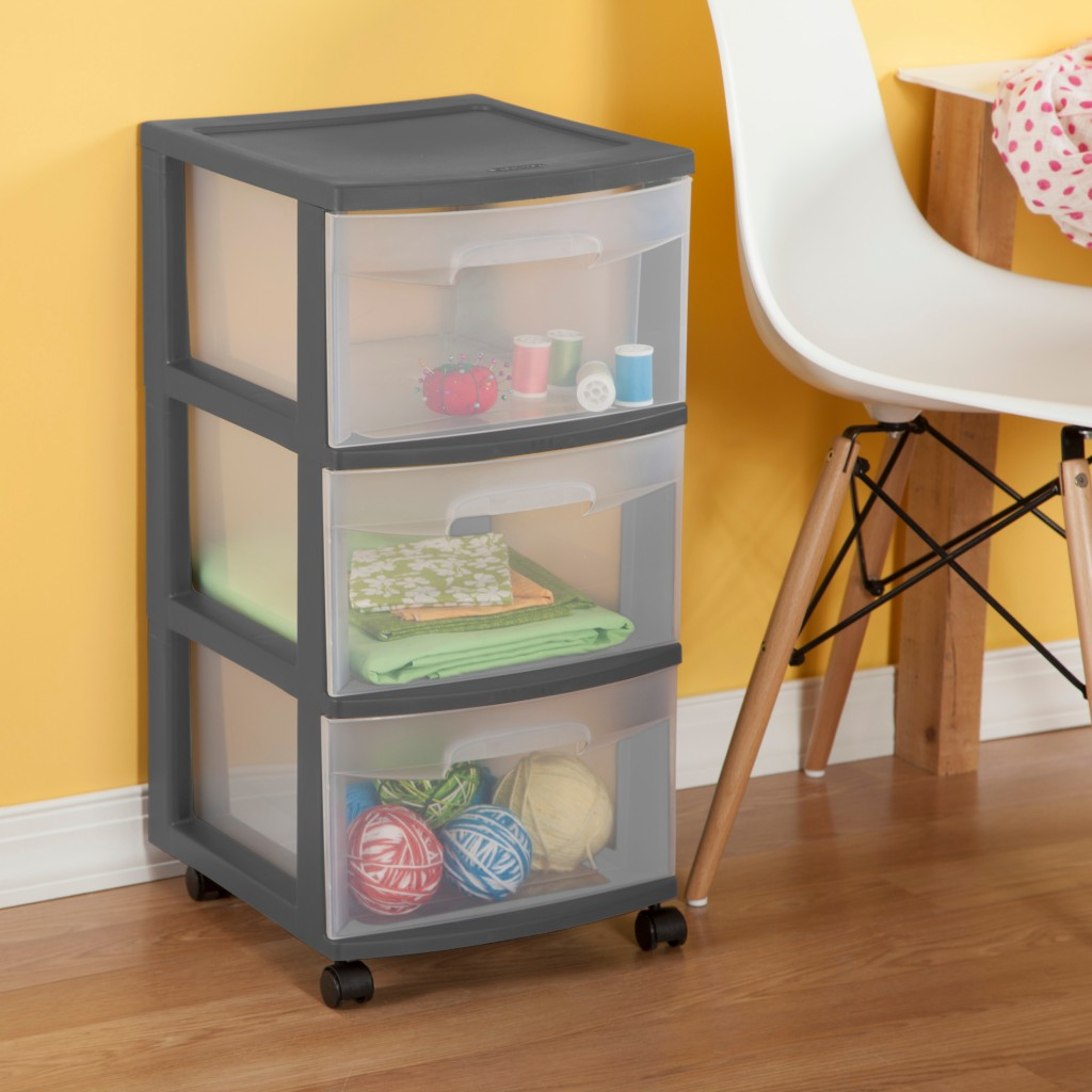 Sterilite Drawer Tower next to office chair