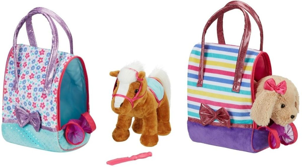 Stuffed animal in a bag sets with horse or dog