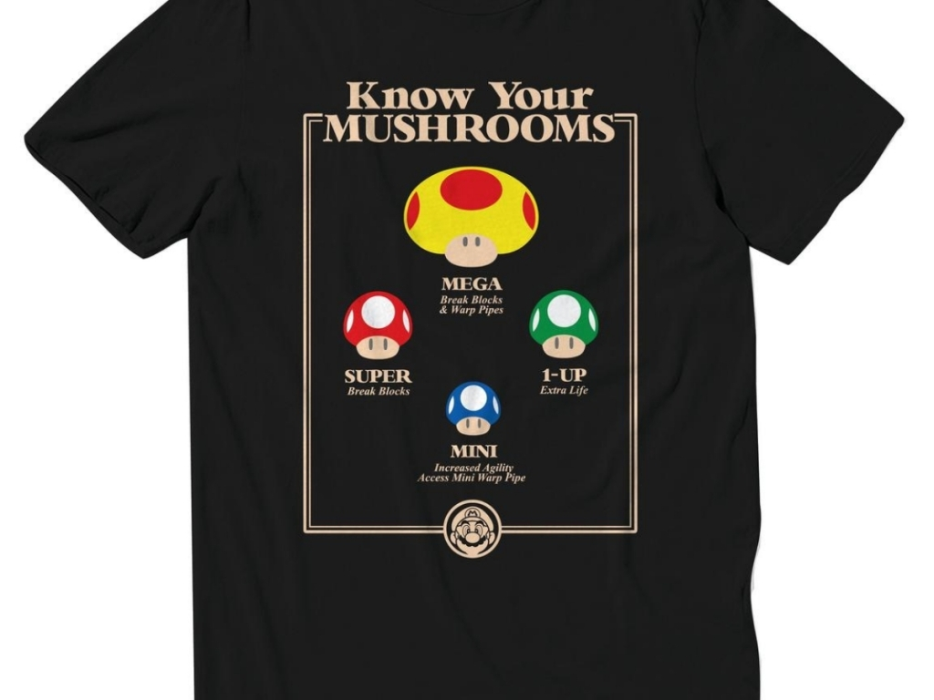 know your mushrooms tee from super mario bros
