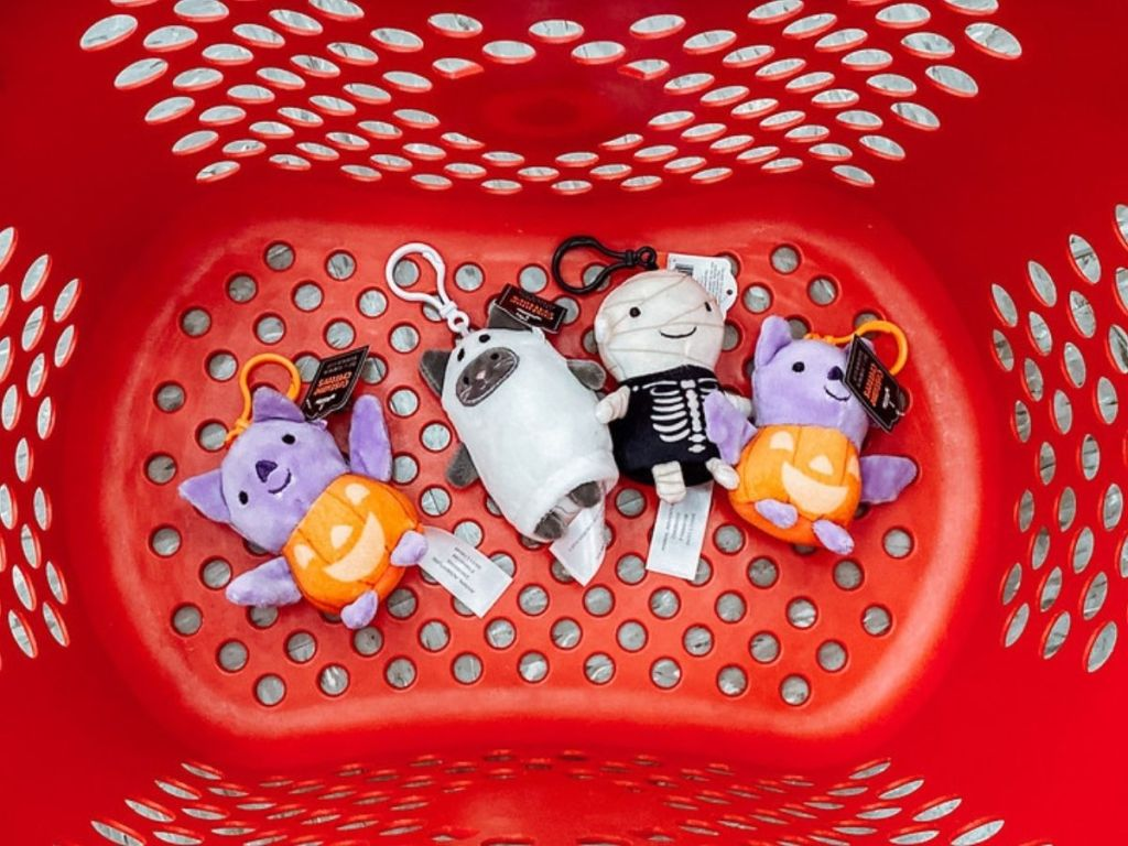 Target Halloween Keychains in a shopping basket
