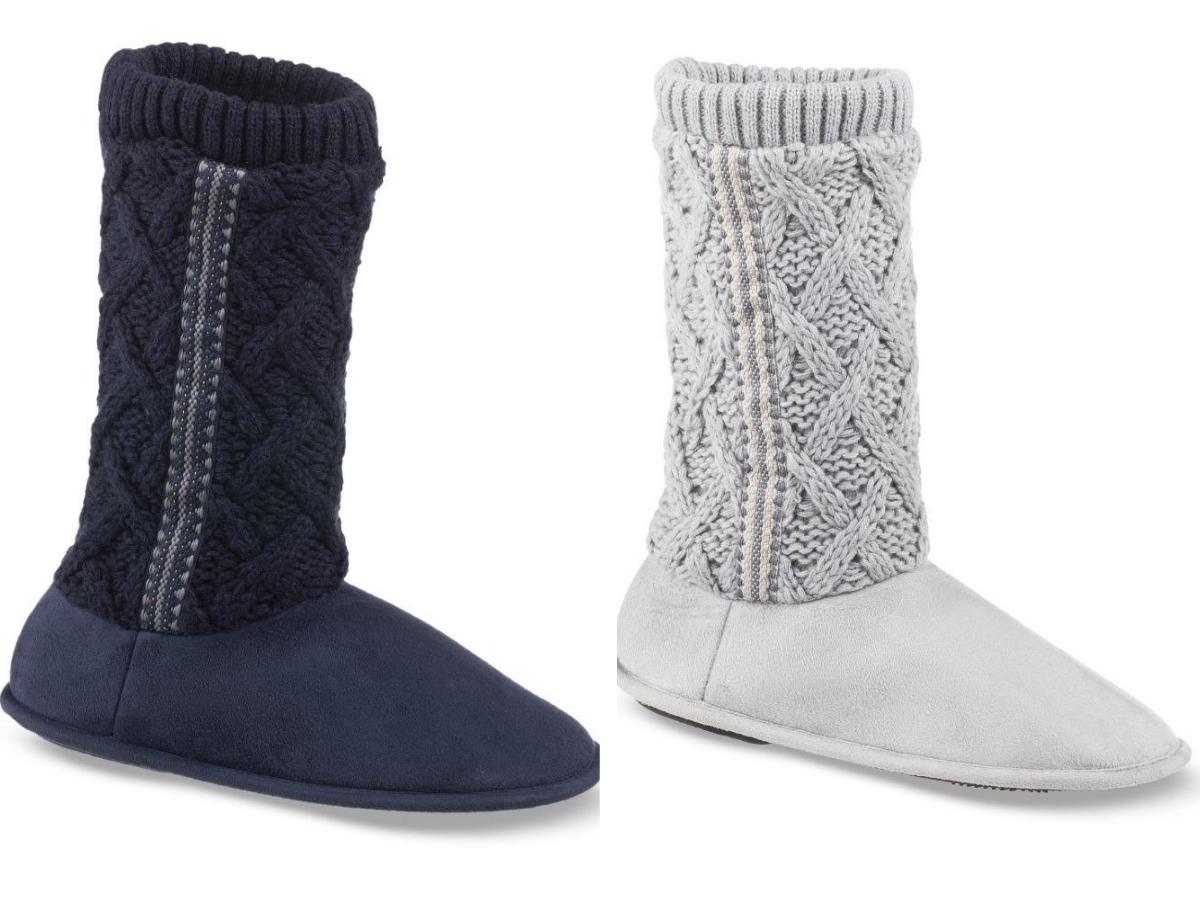 blue and light gray tessa knit booties